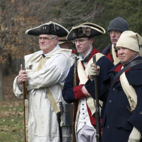 American Revolution reenactors drill at Peter Wentz Farmstead